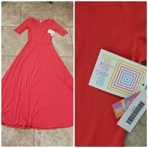 Ana dress S NWT coral red long